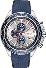 Nautica Men's Ocean Beach Chrono Stainless Steel Japanese-Quartz Watch with Silicone Strap, Blue, 20.4 (Model: NAPOBP902)