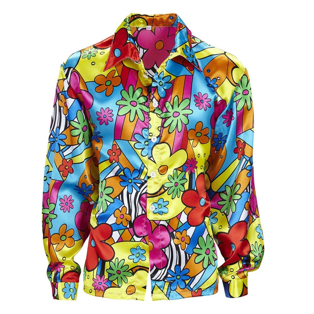 Amakando Camiseta Flores Hombre Camisa Hippie de Colores M 50 Disfraz Hombre Hippie Ropa años 60 72 Parte de Arriba Flower Power Outfit a la Moda: Amazon.es: Juguetes y juegos