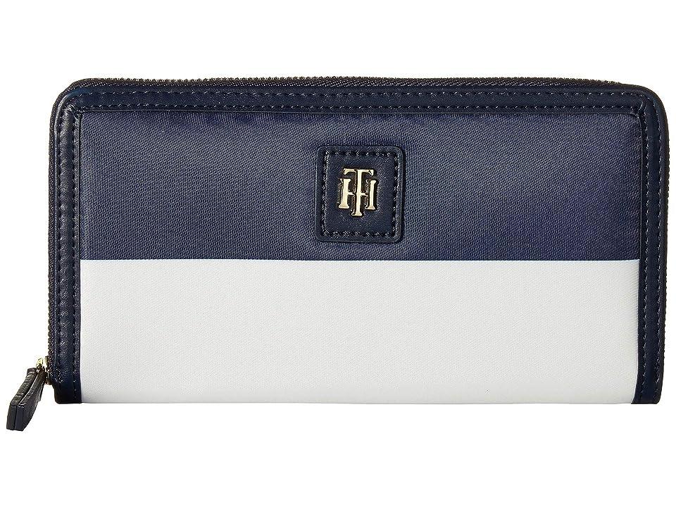 Tommy Hilfiger Julia Corporate Zip Wallet (Navy/Red/White) Wallet Handbags