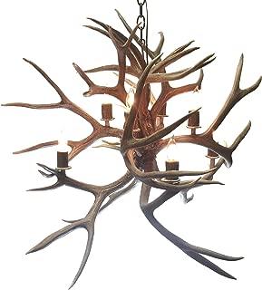 Six Light Mule Deer Fireball Antler Chandelier