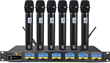 PRORECK MX66 6-Channel UHF Wireless Microphone System with 6 Hand-held Microphones Karaoke Machine for Party/Wedding/Church/Conference/Speech (New frequency)