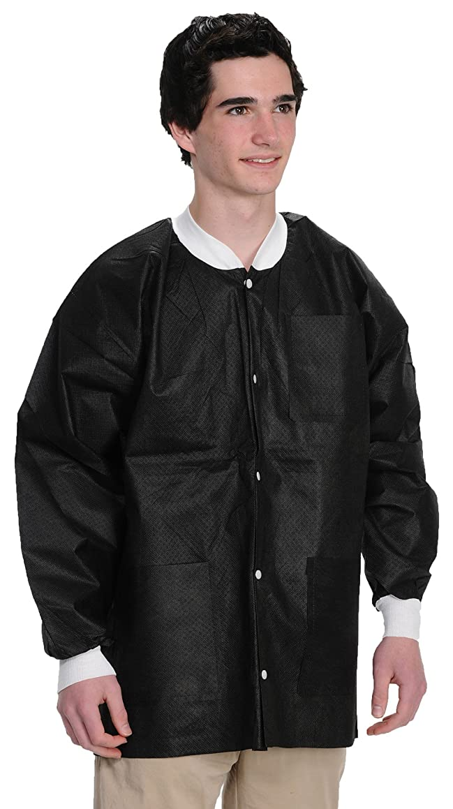 ValuMax 3630BKL Extra-Safe, Wrinkle-Free, Noble Looking Disposable SMS Hip Length Jacket, Black, L, Pack of 10