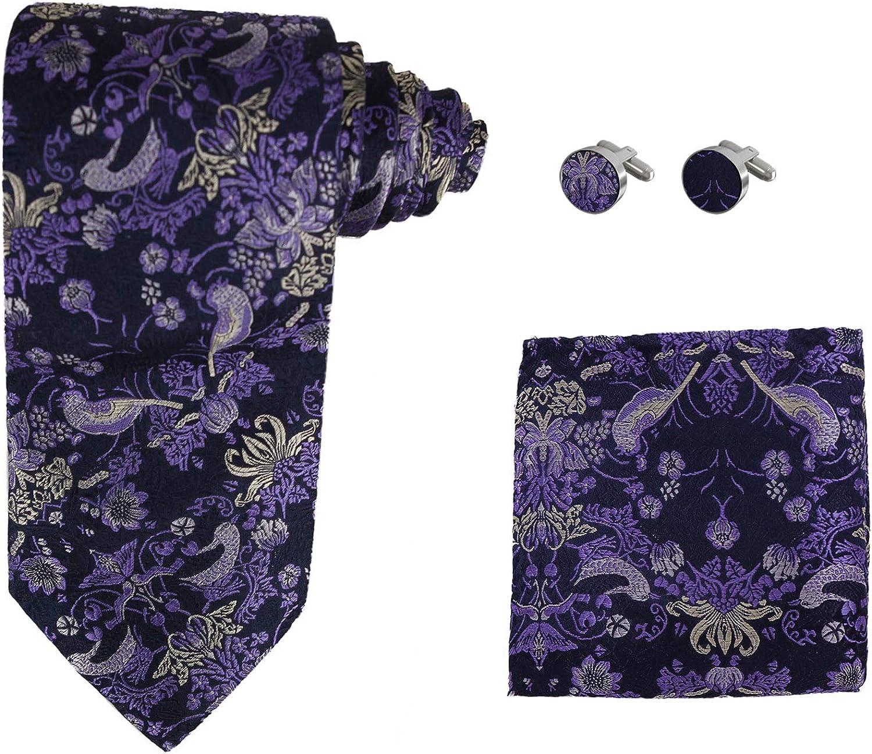 Y&G Men's Fashion Fashion Multi-colored Paisley Tie Cufflinks Hanky Set Anniversary Silk Tie 3PT Box