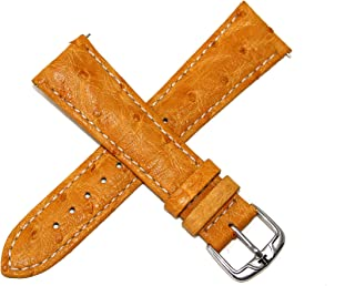 Jacques Lemans 22MM Genuine Ostrich Leather Watch Strap Amber w/Silver JL Initial Stainless Steel Buckle