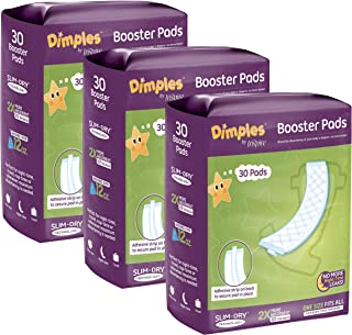 Dimples Booster Pads, Baby Diaper Doubler with Adhesive - 1 Size Fits All Diapers - Boosts Diaper Absorbency - No More lea...