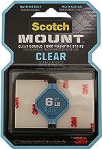 """3M Clear Scotch-Mount Dubbelzijdige montageband, strips & vierkanten: 1"""" x 3"""". (Clear)/8-strips"""