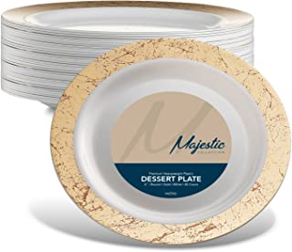 MAJESTIC PARTY PLATES / WEDDING PLATES   6 Inch Plastic Plates for Dessert Etc.  White with Gold Rim, 40 Pack   Elegant & Fancy Heavy Duty Party Supplies Plates for all Holidays & Occasions