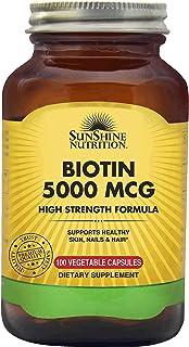 SUNSHINE NUTRITION Biotin 5000 Mcg High Strength Form 100 Capsules