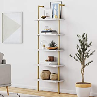 Nathan James Theo 5-Shelf Modern Bookcase, Open Wall Mount Ladder Bookshelf with..