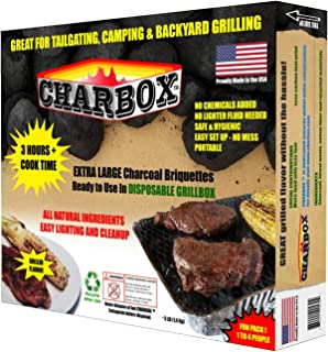 Charbox, Fun Pack (1-4 People) Disposable BBQ Charcoal Grill/Portable/Ready to Use/Lasts 3 Hrs!!/Recyclable/Barbecue Grill Eco Friendly - Great for Camping,Tailgate & Backyard Parties!!!