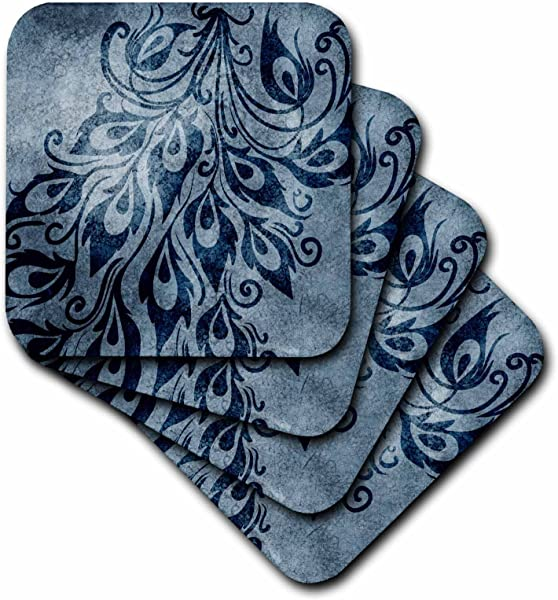 3dRose CST 63653 1 Blue Grunge Peacock Feathers Art Soft Coaster Set Of 4