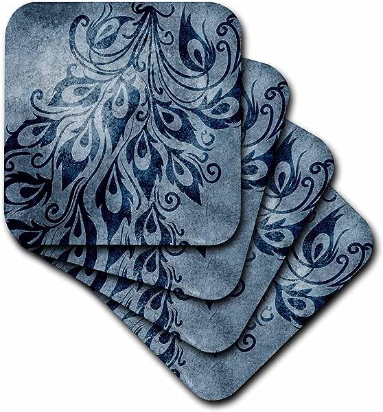 3dRose CST 63653 1 蓝色 Grunge 孔雀羽毛艺术软杯垫 4 件套