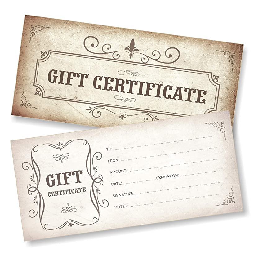 25 Blank Gift Certificates for Business - Vintage - Size 4