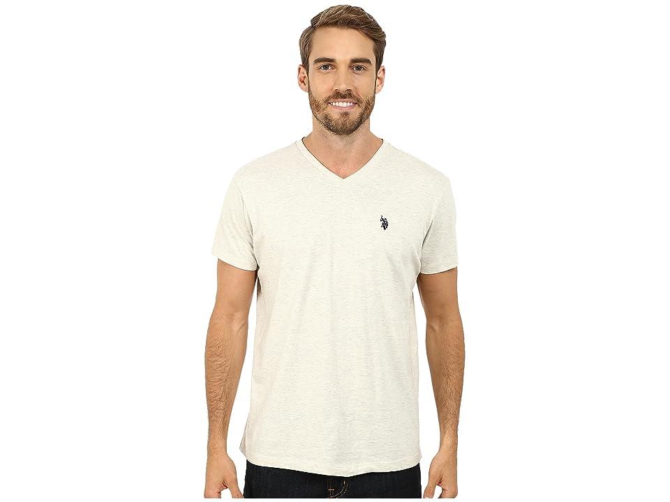 U.S. POLO ASSN. V-Neck Short Sleeve T-Shirt (Oatmeal Heather) Men's Short Sleeve Pullover