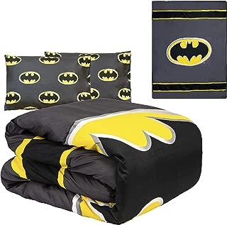 JPI DC Comics Batman Emblem 3-Piece Reversible Queen Comforter Set - Gray and Black - Officially Licensed - Super Soft & Cozy - 86'' x 86'' - 100% Polyester