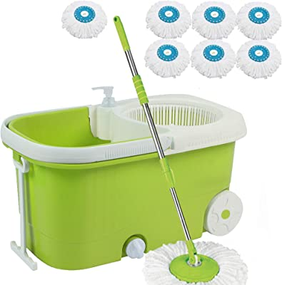 V-Mop Elite Plastic Magic Bucket Mop with Wheel + 8 Microfibers((Made in India))