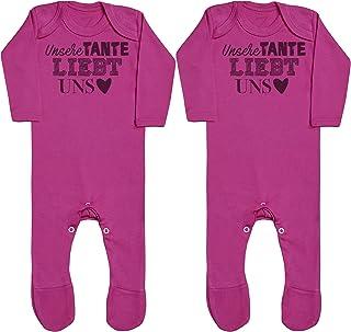 Zarlivia Clothing Unser Tante liebt Uns Baby Zwillinge Jungen Strampler, Baby Zwillinge Mädchen Strampler, Strampelanzug, Baby Zwillinge Strampler