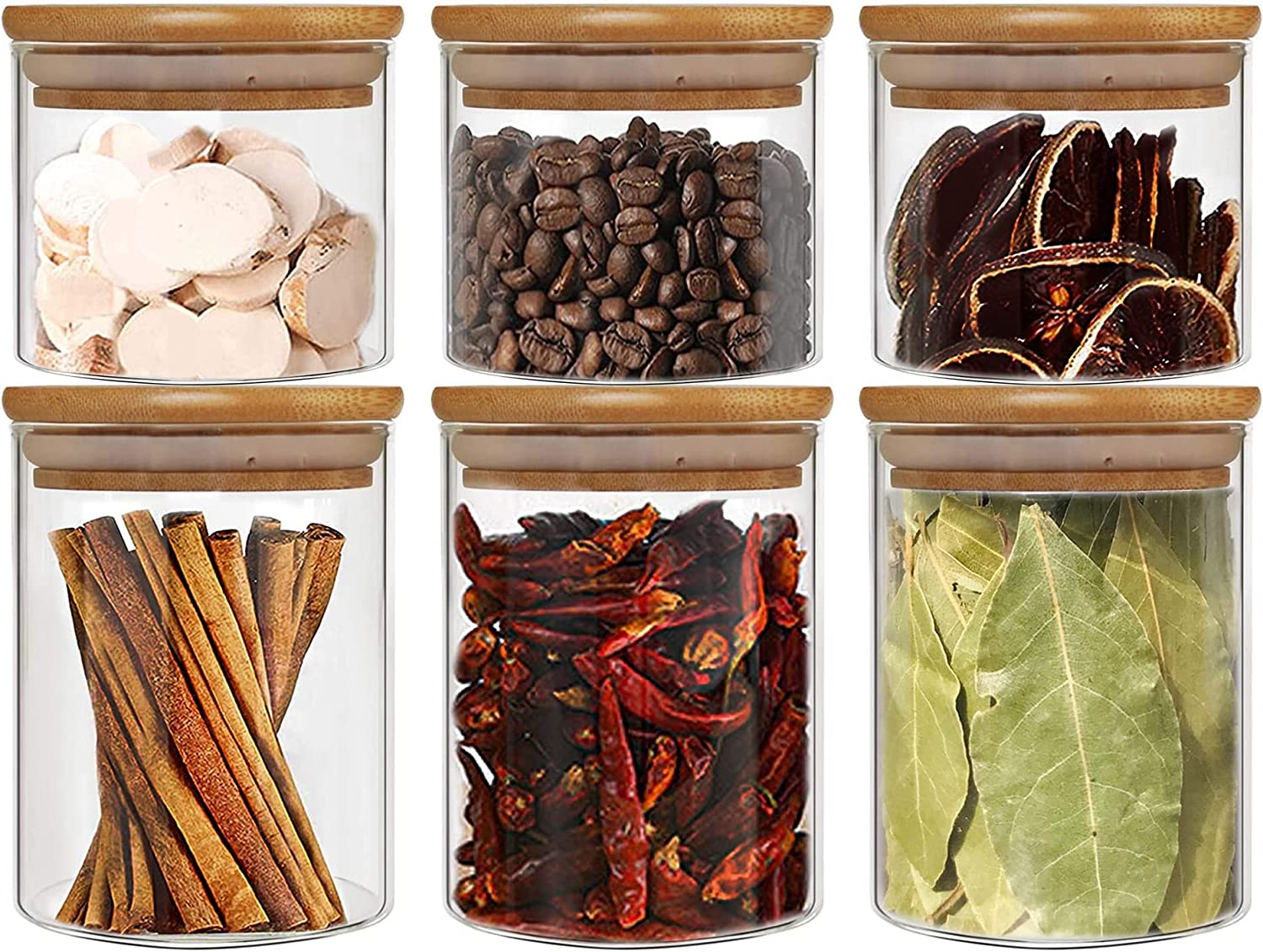 Max 54% OFF Moldiy Glass Food Storage Spring new work one after another Jars Airtight L with Bamboo Containers