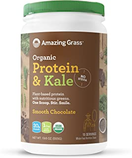 Amazing Grass Organic Vegan Protein & Kale Powder: 20g of Plant Based Protein per serve plus 1 cup of Greens, Chocolate Flavor, 15 Servings