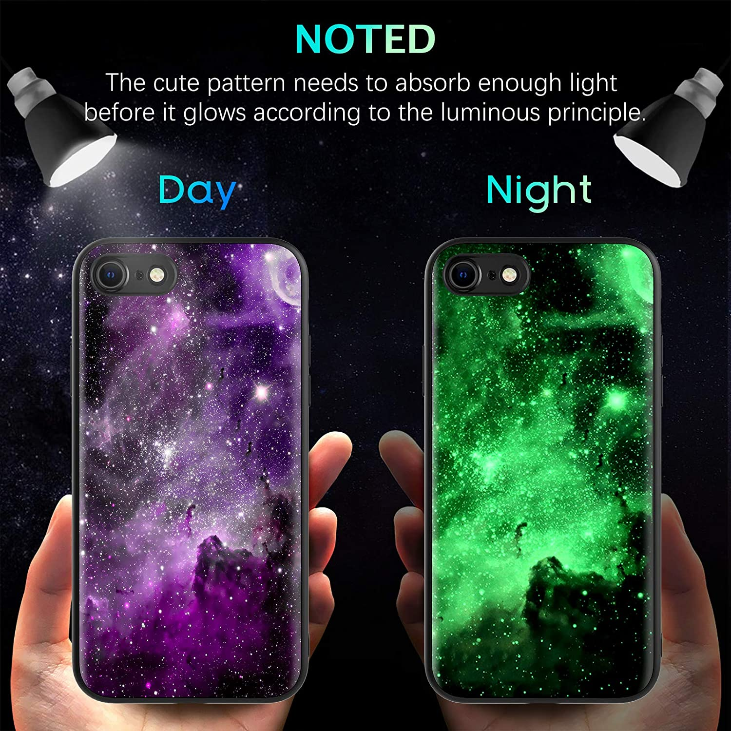 BENTOBEN iPhone SE 2020 Case, iPhone 8 Case, iPhone 7 Case, Slim Fit Glow in The Dark Shockproof Protective Phone Case Hybrid Hard PC Soft TPU Bumper Cover for iPhone SE 2020 (4.7inch), Purple Nebula