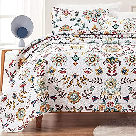 SLEEP ZONE 3-Piece Printed Quilt Set - Full/Queen Size (2 Pillow Shams) - Lightweight Reversible Bedding Coverlet Set for All Season (Classic Floral Pattern)