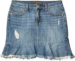 Mid-Rise Denim Ruffle Hem Skirt in Light Wash 69-5273