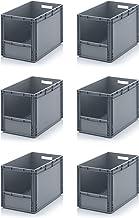 6x Euro Sichtlagerkasten 60 x 40 x 42 cm inkl. gratis Zollstock * Eurobehälter mit Fenster