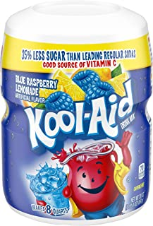 Kool-Aid Sweetened Blue Raspberry Lemonade Powdered Drink Mix, Caffeine Free, 20 oz Jar
