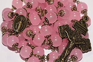 Large Rose Quartz and Bronze Rosary with Pardon Crucifix Made in Oklahoma