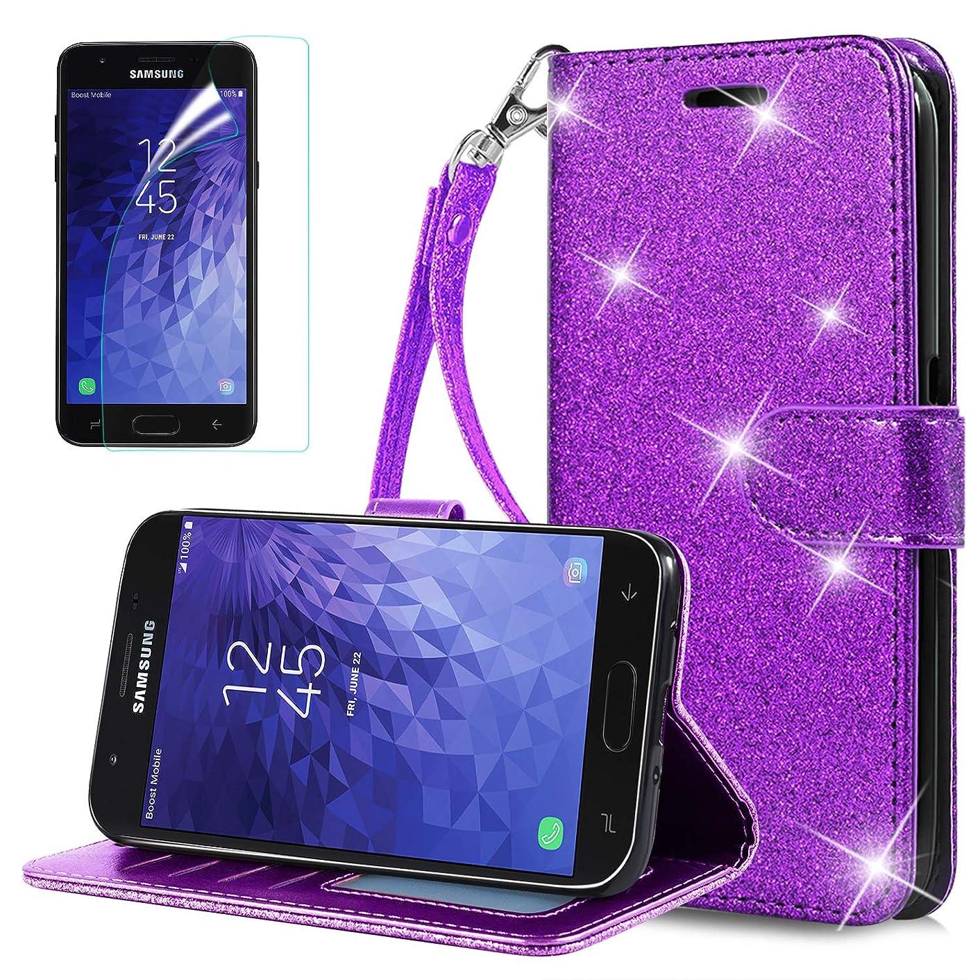 Jemo for Samsung Galaxy J7 Crown Case Galaxy J7 Refine/J7 2018/J7 Star/J7 V 2rd Gen Phone Case Kickstand Wrist Strap for Girls Women, Purple