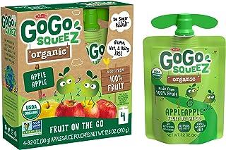 GoGo squeeZ Organic Applesauce, Apple Apple, 3.2 Ounce (4 Pouches), Gluten Free, Vegan Friendly, Unsweetened Applesauce, R...