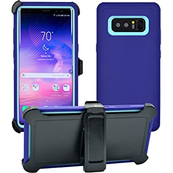 """3-Layer Full Body Life-Time Protection 6.3/"""" American Flag//White WallSkiN Turtle Series Holster Case for Galaxy Note 8 Protective Heavy Duty /& Carrying Belt Clip"""