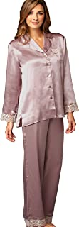 Julianna Rae 100% Silk Pajama, Lace Trim, Drawstring Waist, Relaxed Fit, Sleep-in