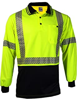 MAK WORKWEAR | Long Sleeve Hi-Vis Polo with Cross Back Segmented Reflective Tape - Yellow/Navy