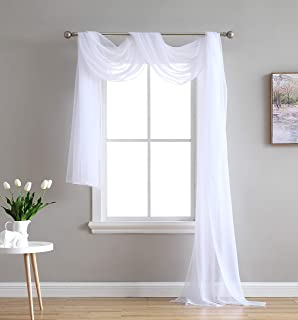 HLC.ME White Sheer Window Scarf - Valance - Fully Stitched & Hemmed - 55
