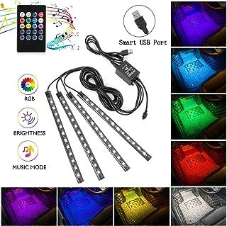 Interior Car Lights, 4pcs 48 USB Car LED Strip Lights, MultiColor Music LED Interior Light Under Dash Lighting Kit with Sound Active Function and Wireless Remote Controller, DC 5V