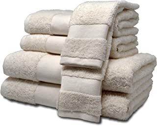 "ELK ROSÉ 6 Piece Extremely Soft & Fluffy 100% Egyptian ""Giza"" Cotton Towel Set for Hotels, Spas & Home – 2 Oversized Bath Towels, 2 Hand Towels, 2 Washcloths (Linen Cream)"