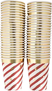 50 Disposable Christmas Cups 9 oz. Paper in Elegant Candy Cane Striped Design with Gold Foil Outline and Scattered Snowflakes for Holiday Party Supplies