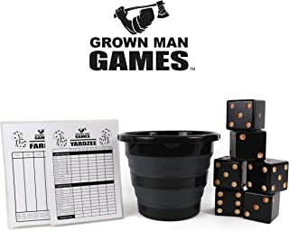 Grown Man Games Yard Dice - Yardzee - Yard Farkle/Yardkle - Large Lawn Dice - Giant Wooden Dice Lawn Game - Indoor/Outdoor Game for Kids and Adults