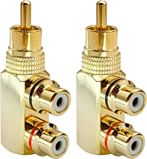 AAOTOKK RCA Y Splitter Adapter,Gold-Plated 90 Degree Right Angle RCA Male to 2 RCA Female Jack Audio Video Y Splitter AV TV Adapters Metal Connector (2 Pack)