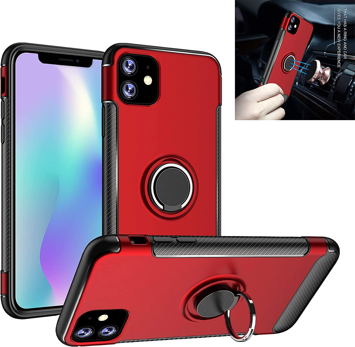iphone 11 6.1 case with Kickstand - Ultra Slim 360 Degree Ring Holder Case - Full Body Protective Stand Shockproof Case with Magnetic Stand Compatible With iphone 11 6.1 ( Rose gold)