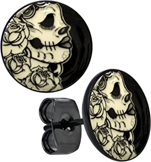 Body Candy Black Anodized Stainless Steel Post Gothic Rose Skull Glow in the Dark Stud Earrings