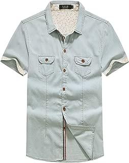 SSLR Men's Cotton Button Down Short Sleeve Denim Shirt