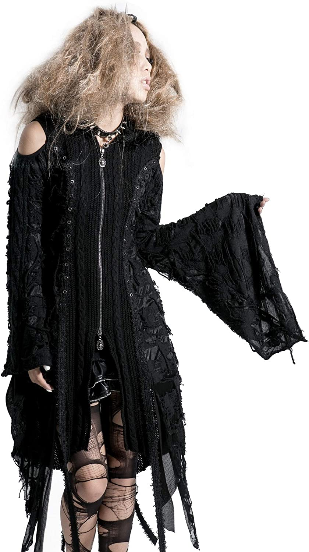 Punk Rave Vintage Hooded Women Cardigans Black Long Sleeves Winter Hole Knitted Sweaters Long Jacket Coat