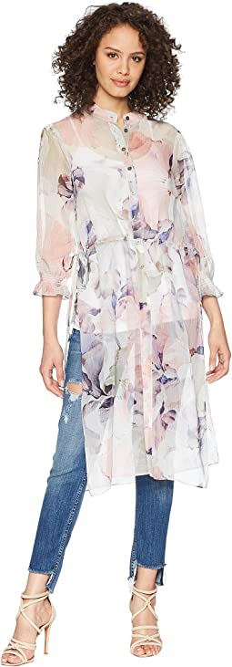 Vince Camuto - Long Sleeve Side Tie Diffused Bloom Long Tunic