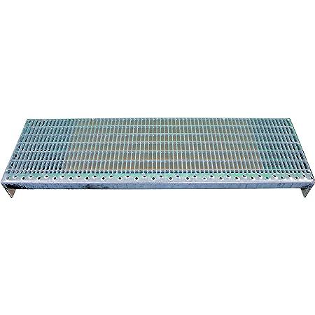 Stahl-Treppenstufe nach DIN-Norm Ma/ße: 1000 x 240 mm MW: 30 mm // 10 mm Fenau Vollbad-Feuerverzinkt Gitterrost-Stufe XSL Fluchttreppen geeignet//Anti-Rutsch-Wirkung R11