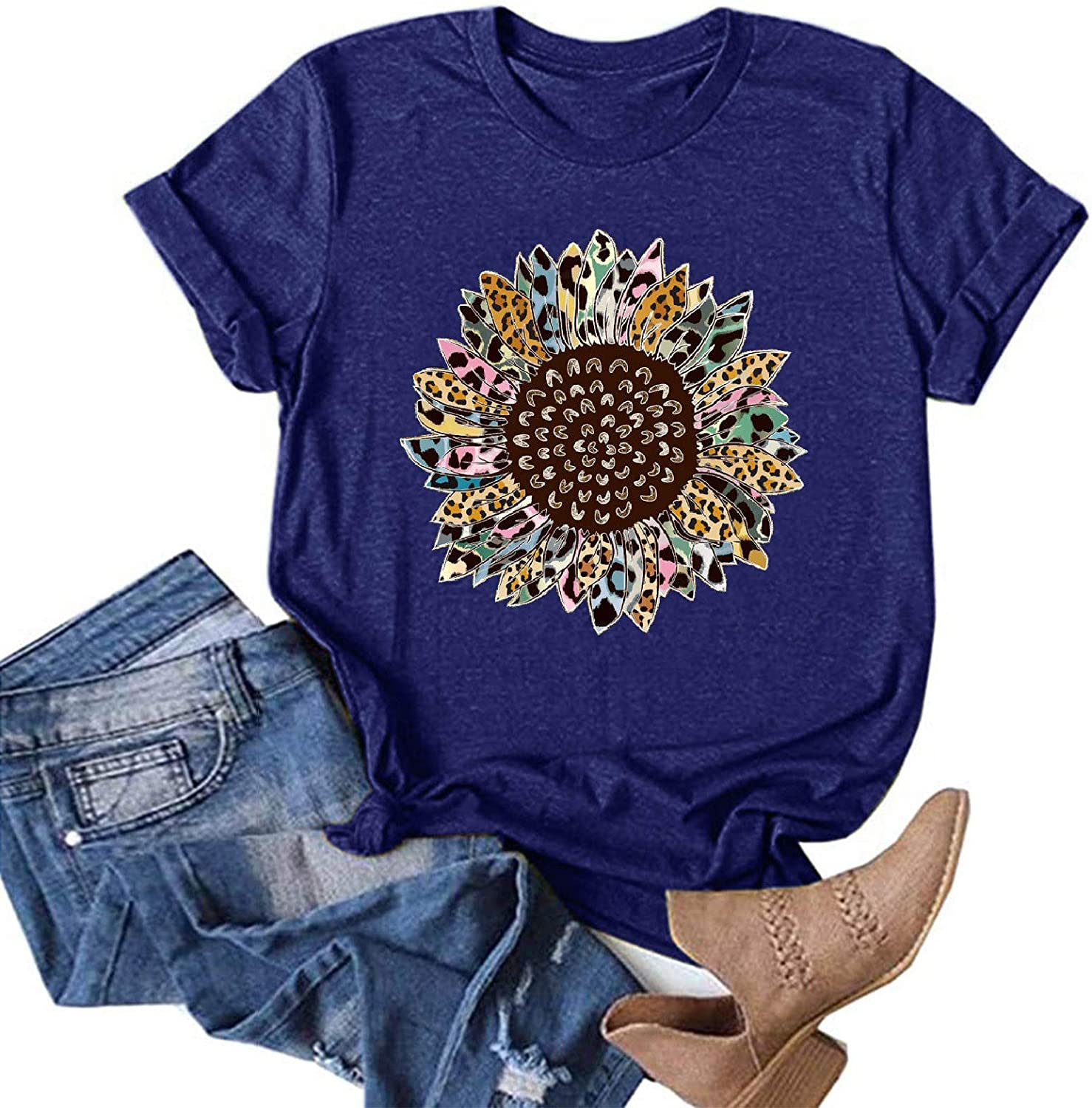 AOKASII Shirts for Women, Fashion Round Neck Letter Print Casual Tee Shirt Funny Plus Size Short Sleeve T-Shirt Top Blouses