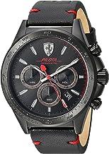 [フェラーリ] Ferrari 腕時計 Men's 'Pilota' Quartz Stainless Steel and Leather Casual Watch, Color:Black クォーツ 830434 メンズ 【並行輸入品】