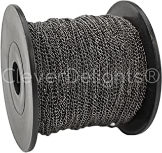 CleverDelights Curb Chain Spool - 2x3mm Link - Gunmetal Color - 330 Feet - Bulk Jewelry Chain Roll
