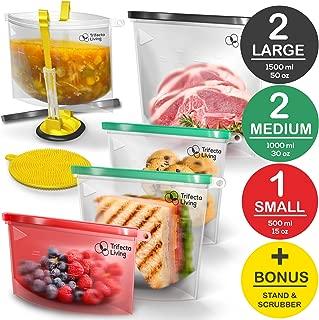 TRIFECTA LIVING Reusable Silicone Food Bag | (Set of 7) 5 Bags + Reusable Ziploc Bags Holder + Scrubber | Dishwasher Safe | Reusable Freezer Bags | BPA Free | Silicone Bags Reusable | Airtight Seal